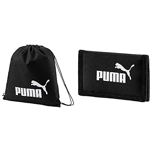 PUMA Phase, Sacca Sportiva Unisex-Adulto, Nero Black), Taglia Unica & Phase Wallet, Portafoglio Unisex Adulto, Nero, Taglia Unica