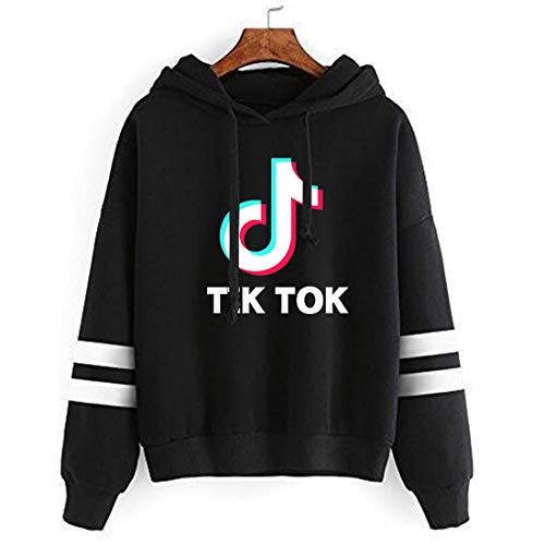 ASZX Women Fashion Tok TIK Logo Hoodie Sweatshirt Fashion Casual Music Fans Jumper (Black 1, X-Large)