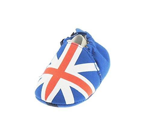 Baby Jongens Meisjes Union Jack Vlag Blauw Wit Rood Slip op Pram Schoenen Booties 3-6 Months Blauw