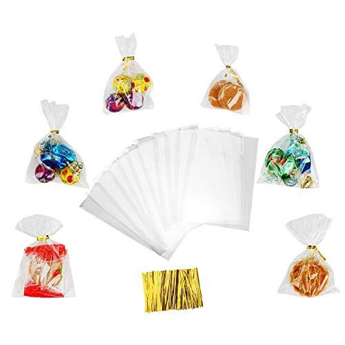 Ulikey 600 pezzi Trasparente in Cellophane Buste Trasparenti, Sacchetti per Alimenti Sacchetti di Plastica 11.5x8cm, Plastic Bags per Biscotti Dolci Torte Caramelle Cioccolato Lecca Lecca
