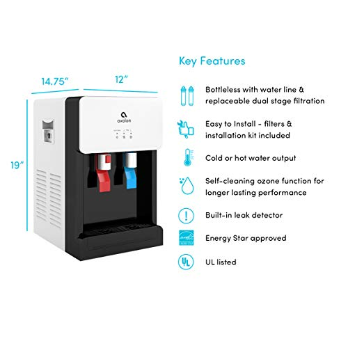 Avalon A8CTBOTTLELESSWHT Countertop Self Cleaning Touchless Bottleless Cooler Dispenser Hot & Cold Water, NSF Certified Filter, UL/Energy Star, white