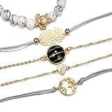 DMUEZW Ananas Tortue Coeur Terre Bracelet Ensembles pour Femmes Tissage Corde Chaîne Bracelets Bijoux en Pierre
