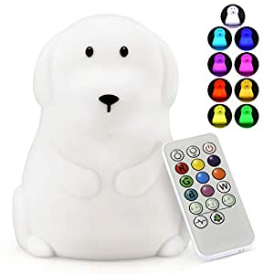 LED Nursery Night Lights for Kids -USB Rechargeable Animal Silicone Lamps with Touch Sensor and Remote Control -Portable Color Changing Glow Soft Cute Baby Infant Toddler Gift (Dog)