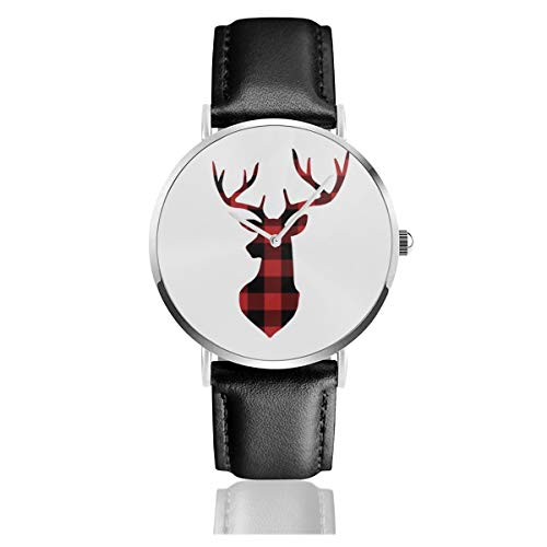 Red Buffalo Plaid Christmas Deer Silhouette Lederarmband Armbanduhr Casual Classic Edelstahl Quarz Business Armbanduhr