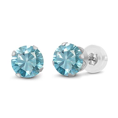 Gem Stone King 14K White Gold Blue Zircon Stud Earrings For Women (1.00...