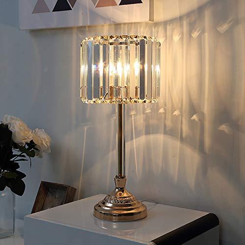 FHUA Lámpara Escritorio Lámpara de Cristal de Cristal lámpara de Lujo Europeo Europeo cálido Creativo Americano Princesa Lama de Noche 20 * 46 cm (Color : Clear)