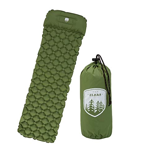 ELDAR Outdoor Camping Sleeping Pad for Backpacking - Inflatable Lightweight Camping Mattress with Pillow and Travel Bag for Camping Hiking Trekking Traveling Tent (Green)