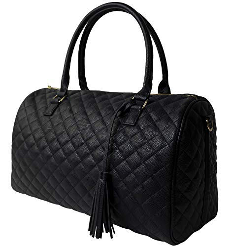 Womens Quilted Weekender Duffle Carry Bags Overnight Travel Handbag Shoulder Tote Trolley Handle Luggage TSA Approved Bag Quad Duffle 43 (Black-03)