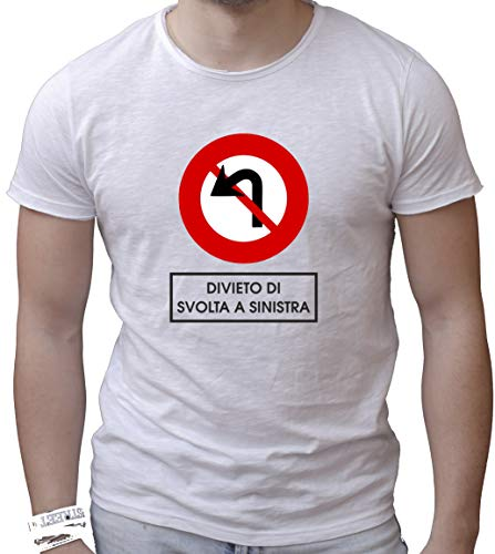 Social Crazy T-Shirt Uomo Cotone Fiammato Scollo Ampio a Taglio Vivo -DIVIETO di SVOLTA A Sinistra - Divertente Humor Made in Italy