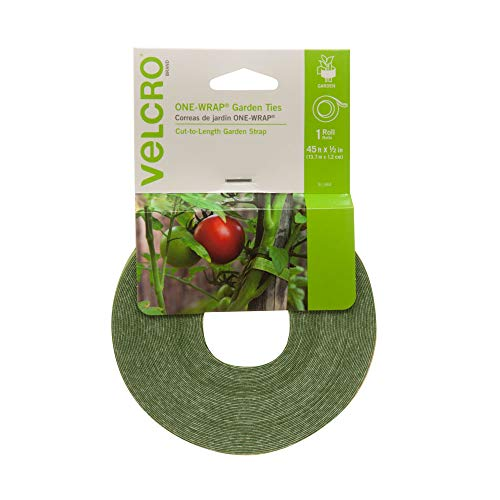VELCRO Brand 91384 | Alternative to Twine, Reuse and Adjust with No Knots | Garden Tape has Strong Hold for Tomato and Vine Support |, 45 ft x 1/2 in Roll, Green