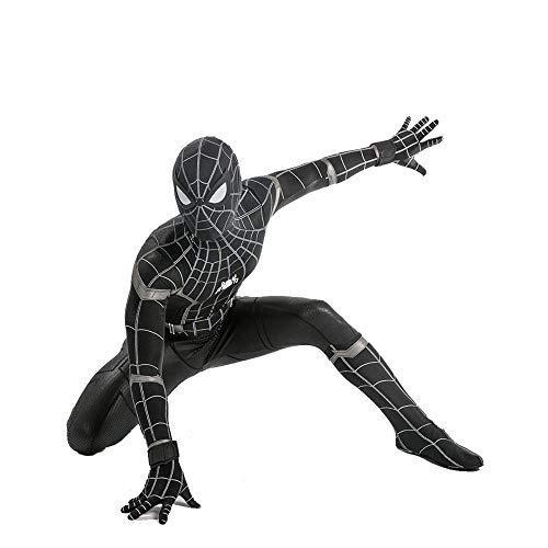 YXIAOL Traje De Hombre Araña Negro, Traje De Superhéroe para Niños, Traje De Carnaval De Halloween, Traje De Fiesta De Cosplay, Medias De Lycra 3D - Adulto/Niño,Child-L