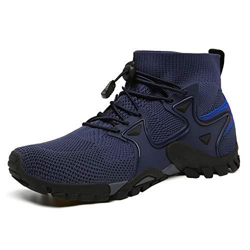 Fnho Casual Senderismo Calzado,Calzado de Running para Hombre,Zapatos para Caminar al Aire Libre de Gran tamaño, Zapatos para Caminar Transpirables-Azul Profundo_42