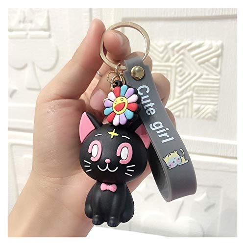 Djujiabh Schlüsselanhänger 3D Figur Nette segler mond Luna cat acryl Keychain anhänger Spielzeug anhänger Cosplay schlüsselketten für Frauen Geschenke keyfob (Color : A)