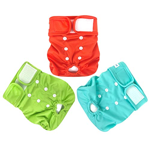 Paw Legend Reusable Female Dog Diapers(3 Pack, Vivid, Large)