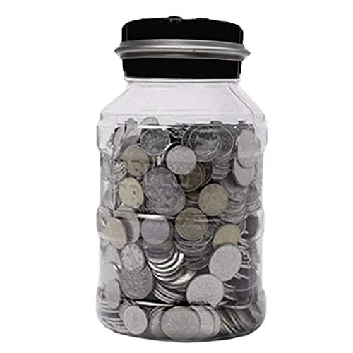 Caja de ahorro de dinero, moneda electrónica de contador de hucha digital , LCD Cuenta de conteo de monedas de ahorro de dinero Tarrar caja de almacenamiento de monedas transparentes, 2,5L Bancos de d