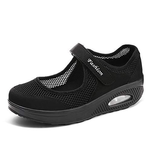Damen Outdoor Fitnessschuhe Atmungsaktive Mesh Schuhe Sport Slipper mit Klettverschluss Sportschuhe Sneaker Turnschuhe Laufschuhe Pumps