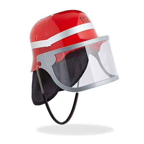 Relaxdays Feuerwehrhelm Kinder, mit Visier, Nackentuch & Kinnriemen, verstellbarer Kopfumfang, Feuerwehrmann Helm, rot