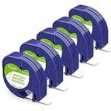Aken Ruban Papier Blanc compatible pour Dymo LetraTag Papier Ruban 12mm x 4m, Recharge Dymo Ruban Papier Rouleau Dymo 12mm pour Dymo LT100H LT100T XR XM (Dymo LetraTag Paper White Label Tape S0721510)