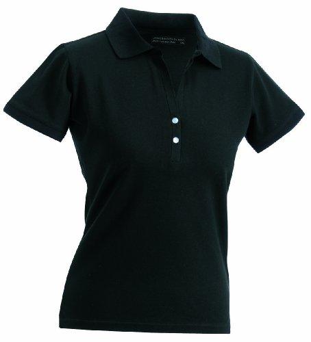 James & Nicholson - Polo - fonctionnel à manches courtes élastiques pour femme - Noir - Taille: XL
