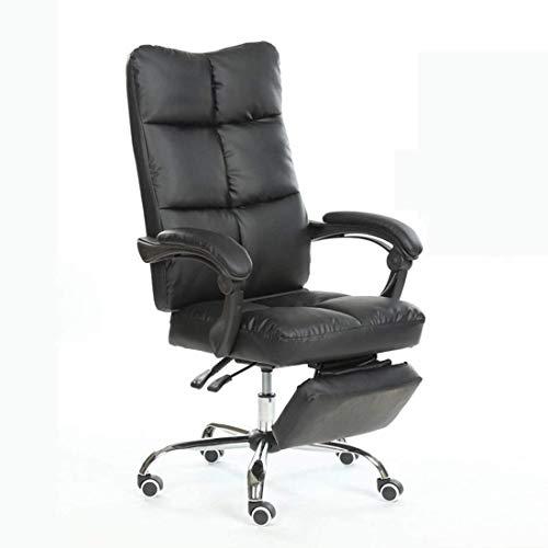 Noble Chair Computerspielstuhl Ergonomischer High-Rücken-PU-Leder-Liegestuhl mit Verstellbarer Fußstütze (Color : Black)