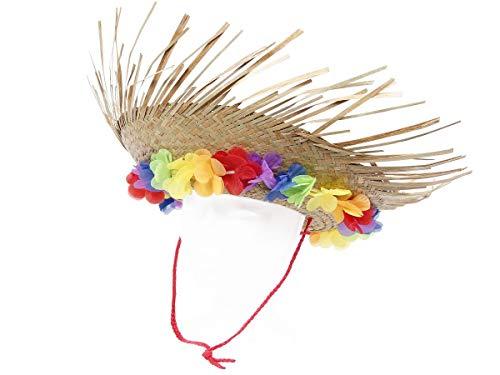 Chapeau de paille original avec collier de fleurs cousus (52537) Léger et joliment fait, taille unique pour adultes unisex pour homme et femme Idéal pour agrémenter un déguisement Hawaïen Idéal pour compléter votre déguisement