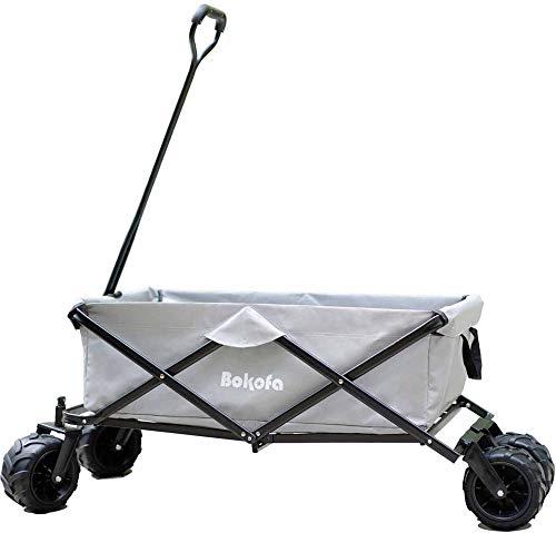 Bokofa Carrello pieghevole a mano grigio con ruote fuoristrada extra large, carrello da giardino, carrozzina da spiaggia fino a 100 kg, ruote anteriori girevoli a 360°, carrello per il trasporto