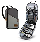 Camp Kitchen Cooking Utensil Set Travel Organizer Grill Accessories Portable Compact Gear for Backpacking BBQ Camping Hiking Travel Cookware Kit Water Resistant Case (Grey)