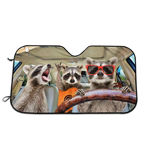 Bargburm Three Funny Raccoons Animals Windshield Sun Shade for Car SUV Truck(51'' X 27.5'') Front Window Sun Shade Visor Shield Cover (Upgrade Hardened)
