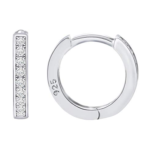 925 Sterling Silver Cubic Zirconia Small Hoop Huggie Cartilage Earrings Cuff - Small
