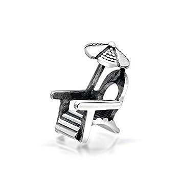 ARTCHARM Beach Chair Umbrella Charm - Authentic 100% 925 Sterling Silver - Fit on European Bracelets