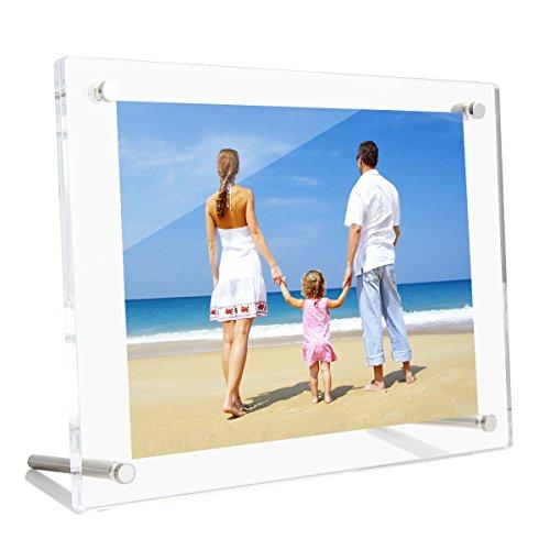 NIUBEE アクリルフォトフレーム 写真立て L判 スタンドタイプ 透明 写真フレーム 卓上展示ピクチャー、ポスター、絵画、賞状 89x127mm
