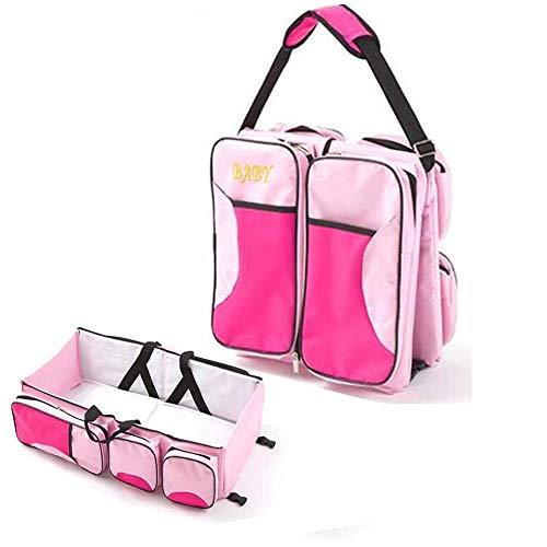 Multifunktionale 3-in-1 Baby Urin Tasche, Reisebett Tragbare Faltbare Wickeltasche Mama Umhängetasche Krippe 0-12 Monate (Vier Farben Optional) (Color : Pink)