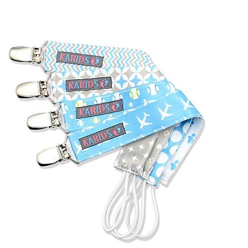 Clip para Chupete (Paquete de 4) para Bebés e Infantes – Portador Unisex Moderno para Chupete para Chupón, Juguete- Accesorio para Bebé Adorable Duradero Ligero -Paquete de Niño-