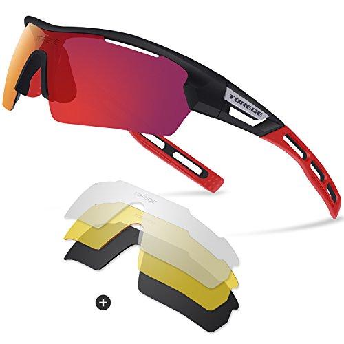Gafas de sol deportivas polarizadas, de Torege, TR033, unisex, para ciclismo, correr, pesca, golf , Black/Red tips&Red lens