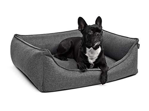 PadsForAll Hundebett Hundekörbchen auch ORTHOPÄDISCH MIT VISCOSCHAUMSTOFF Hundekissen M-XL grau