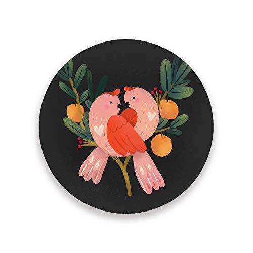 CHEHONG Saugfähige Getränkeuntersetzer mit süßem rosa Vogel- und Apfelbaum, dunkle Farbe, Keramik-Korkboden, Kaffeetassen-Matte, Heimdekoration, Büro, Glas-Tassen, Esstisch, 2er-Set