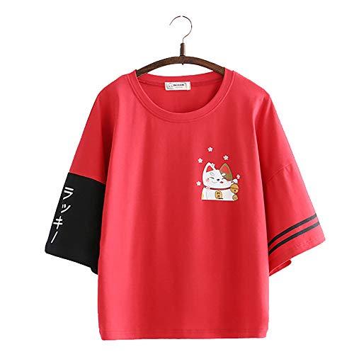 Vdual Giapponese Fortunato Gatto Stampa Colore Bloccare Maglietta Tee