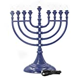 The Dreidel Company Traditional LED Electric Blue Hanukkah Menorah with Crystals - Battery or USB Powered - Includes a Micro USB 4' Charging Cable