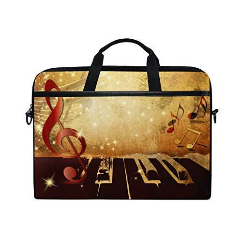 LZXO Laptoptasche 38,1 cm Aktentasche Retro Klavier, Musiknoten Laptop Schultertasche Kuriertasche Tragetasche Handtasche Schule Computer Tasche für Männer Frauen Schule