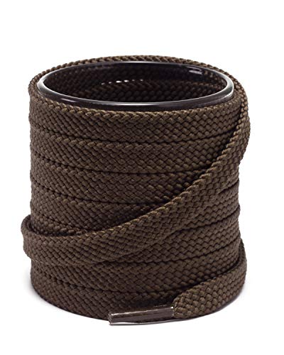 Shoemate Solid Color Thick Flat 5/16' Shoe Laces for Sneakers and Athletic Shoes with 4 Shoestrings Aglets, Dark Brown, 42'(107cm) 27-Kafei