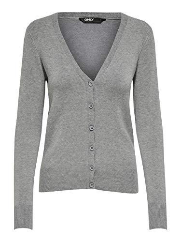 ONLY Damen ONLVENICE L/S V-Neck Cardigan KNT Strickjacke, Medium Grey Melange, M