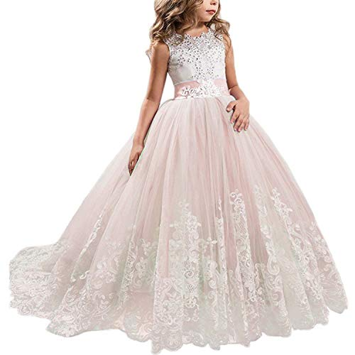 NNJXD Girls Princess Lilac Pageant Long Dress Kids Tulle Prom Ball Gowns Size (150) 10-11 Years Pink