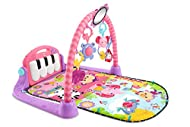 Four ways to play Lay and play; tummy time; sit and play; take-along Music rewards baby as she kicks the piano keys Five busy activity toys and a large mirror Toys include a hippo teether, elephant clackers, rollerball frog and more Short or long-pla...