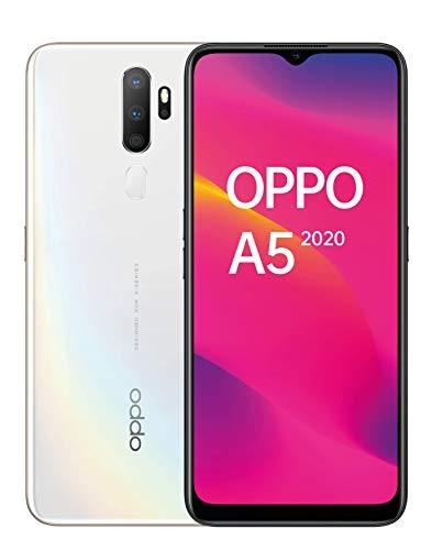 """OPPO A5 2020 – Pantalla de 6.5"""" (HD+, 3 GB/ 64 GB, Snapdragon 665, 5.000 mAh, cámara trasera 12 Mpx + 8 Mpx (gran angular) + 2 Mpx + 2 Mpx, Android 9) Blanco [Versión ES/PT]"""
