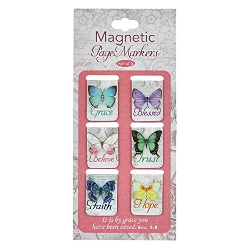 Christian Art Gifts Set of 6 Botanic Butterfly Blessings Inspirational Magnetic Bible Verse Bookmark with Scripture Size Extra Small 1 x 75 299