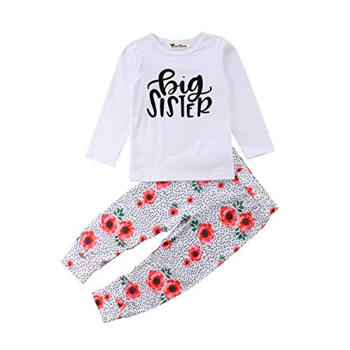 KIDSA 2-7T Toddler Baby Little Girls Clothes Big Sister Long Sleeve T-Shirt Tops + Skirts Leggings Pants Outfits Set