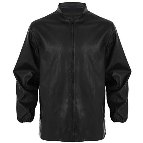 Freebily Homme Manteau Sweatshirt à Capuche Cuir PU Veste Imperméable Col Montant Mode Masculine Tops Haut Zip Survêtement S-L Noir Small