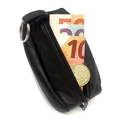 LIVAN - L089 - Porte-Monnaie Homme - Cuvette Demi Lune - Cuir véritable - Compact et Pratique - pour Poches Pantalon ou Veste (Noir Grand (Grain café))
