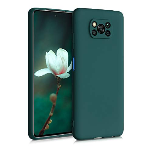 kwmobile Funda Compatible con Xiaomi Poco X3 NFC - Carcasa de TPU Silicona - Protector Trasero en Verde Cian