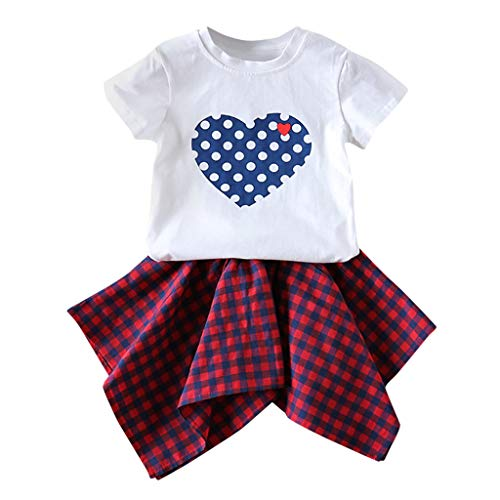 Moneycom❤(1Y-6Y Toddler Baby Kids Girls Love Dot T-Shirt Tops Plaid Skirt Casual Set Outfits Blanc(4-5 Ans)